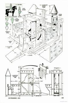 Popular Mechanics Homemade Dollhouse, Diy Dollhouse, Dollhouse Miniatures, Wooden Castle, Toy Castle, Cardboard Box Houses, Laser Cutter Ideas, Doll House Plans, Putz Houses