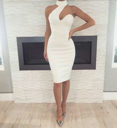Dinner dress classy - White Cut Out Asymmetric Shoulder Halter Neck Bodycon Elegant Party Midi Dress – Dinner dress classy Elegant Dresses, Sexy Dresses, Beautiful Dresses, Evening Dresses, Casual Dresses, Short Dresses, Fashion Dresses, Halter Dresses, Fashion Bags