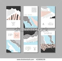 Collection Trendy Creative Cards Different Textures Stock Vector (Royalty Free) 453806239 Composition Design, Collage Design, Print Patterns, Pattern Print, Line Friends, Texture Vector, Different Textures, Free Vector Art, Creative Cards
