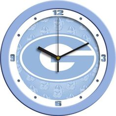 Georgia Bulldogs UGA Clock Baby Blue Glass Wall Clock