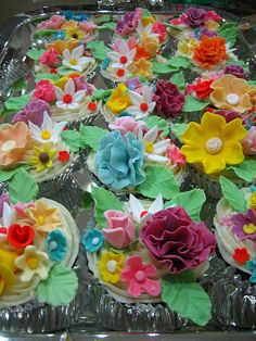Beautiful cupcakes with gum paste flowers