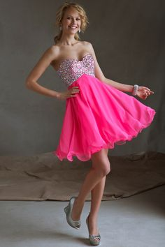 Low Price Guarantee on Sticks  Stones Mori Lee 9245 pink strapless chiffon homecoming dresses available now at RissyRoos.com.
