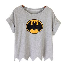 Grey Short Sleeve Batman Print Crop T-Shirt ($25) ❤ liked on Polyvore featuring tops, t-shirts, shirts, crop tops, crop t shirt, gray shirt, grey t shirt, short-sleeve shirt and gray crop top