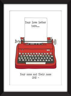 Personalised Love Letter 11 x 14/8 x 10/5 x 7 A3/A4/A5 Print , Gift for Valentines Day. Create a personalised love letter to your husband/wife/boyfriend/girlfriend/best friend. Your letter should be no more than 80 characters, but make it as romantic as you want. At the bottom are your names with the year you got together. Please let me know the details on your order. Print comes in six measurements Small - 5 x 7 inches Small - A5 (5.8 inches x 8.3 inches) Medium - 8 x 10 inches Medium…