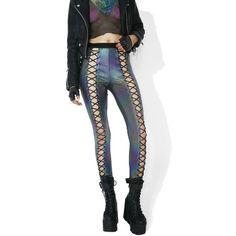 Club Exx Oil Slick Holographic Nancy Corset Leggings ($45) ❤ liked on Polyvore featuring pants, leggings, high-waisted leggings, high-waisted pants, wet look leggings, lace-up leggings and white pants