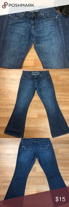 American Eagle Real Flare Jeans Like new!!!  American Eagle Real Flare dark wash jean.  100% cotton  Wardrobe staple!  Perfect condition! American Eagle Outfitters Jeans Flare & Wide Leg