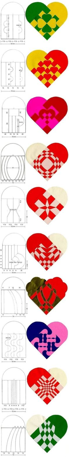 DIY Fabulous Heart Patterns for Paper Weaving projects. I'M thinking valentine's day Valentine Crafts, Holiday Crafts, Christmas Crafts, Valentines, Valentine Decorations, Christmas Tree, Kirigami, Diy Paper, Paper Art