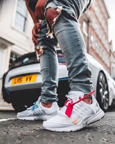 I really like off-white sneakers like the air presto because I think they look nice and I like the fact it comes with the little tire wrap cause it makes them special Nike Presto, Nike Air Presto White, Off White Presto, Sneaker Outfits, Nike Outfits, White Shoes Outfit, Off White Shoes, Casual Shoes, Nike Fashion