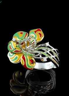 Master Exclusive Jewellery, collection Colourful Carnival, demantoids garnets and enamel ring