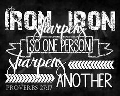 Scripture art Proverbs 27:17  Chalkboard by ToSuchAsTheseDesigns