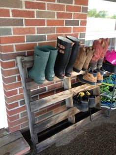 It is a cheap and good way how to storage shoes outdoor. It is easy to make because it is completely made out of a pallet.