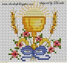 Cross Stitch Designs, Cross Stitch Patterns, Cross Stitching, Cross Stitch Embroidery, Boy Baptism Centerpieces, Première Communion, Chicken Scratch Embroidery, Cross Stitch Angels, Christian Symbols