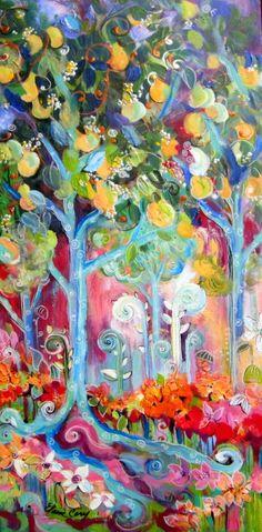 Fantasy Landscape Original Painting acrylic by ElainesHeartsong
