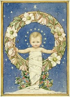 'Come Unto Me' - Baby Jesus with Christmas Roses. Christmas card.