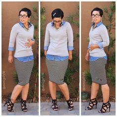 OOTD: DIY Pencil skirt, #Gap Sweater, #F21 Denim Shirt + #Aldo Heels