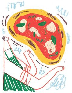 Illustration for my favourite pizza place in Bristol, and a celebration of the internet's favourite food stuff. Vegetable Illustration, Love Illustration, Pizza Branding, Food Illustrations, Zine, Pop Art, Art Prints, Drawings, Favourite Pizza