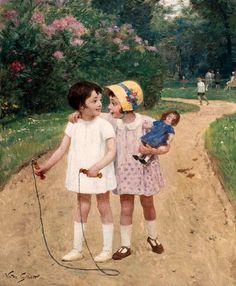 Victor Gabriel Gilbert — The Best Friends Doll Painting, Painting Of Girl, Painting For Kids, Art For Kids, Friendship Flowers, Recital, Vintage Children, Art Children, Paris