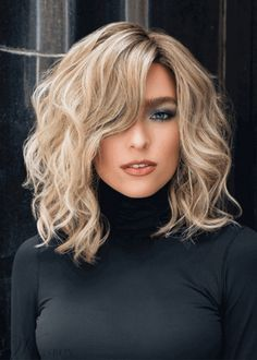 Women's Middle Length Side Part Tamed Open Waves Human Hair Lace Front – w. Women's Middle Length Side Part Tamed Open Waves Human Hair Lace Front – wigsiu Medium Thin Hair, Short Thin Hair, Medium Hair Styles, Curly Hair Styles, Medium Curls, Fine Hair, Wavy Hair, Curls Hair, Ombre Hair