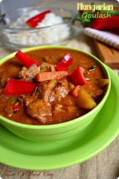 Hungarian Goulash. The flavors of Budapest come through in the Goulash.