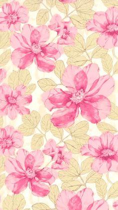 Cream/Pink flowers