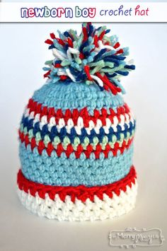 My Merry Messy Life: Newborn Boy Crochet Hat with Cuff and Pom-Pom - Free Pattern!