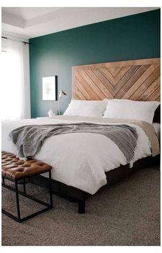 Rustic Master Bedroom, Wood Bedroom, Bedroom Green, Bedroom Furniture, Bedroom Decor, Bedroom Ideas, Design Bedroom, Furniture Ideas, Rustic Wood Headboard