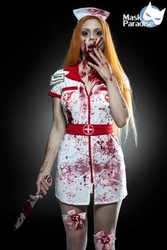 Fantasia de Enfermeira para Halloween com vestido curto Nurse Costume for Halloween with short dress Zombie Nurse Costume, Sexy Nurse Costume, Costume Dress, Scary Halloween Costumes, Halloween Outfits, Halloween Party, Halloween Makeup, Halloween Vampire, Halloween Gesicht