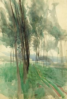 Giovanni Boldini (Italian, 1842 - 1931) A Path Through Trees in the Bois de Boulogne, N/D Watercolour, with some traces of an underdrawing in pencil, 538 x 367 mm. You have a great day
