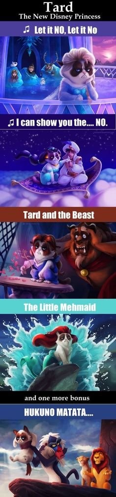 Grumpy cat as certain Disney characters