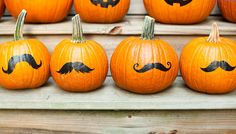 Mustache decals for pumpkins