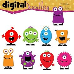 Digital clip art.  Such cute monsters!