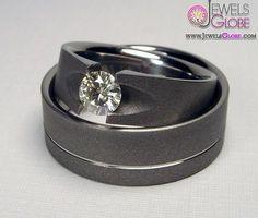 Moissanite Engagement Ring Set Titanium Tension-Set and Pinstripe Wedding