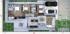 Planta de casa com cozinha integrada. Planta para terreno 12x25 Contemporary House Plans, My Dream Home, Minimalism, Sweet Home, New Homes, Floor Plans, Layout, How To Plan, Architecture
