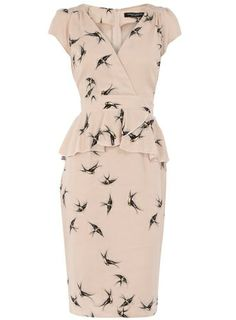Nude Smudge Swallow Print Peplum Dress by Dorothy Perkins the-wardrobe