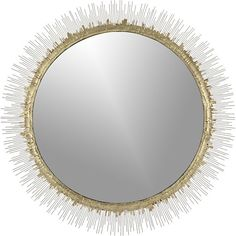 """Clarendon sunburst mirror from Crate and Barrel. 34.5"""" in diameter (also offered in 18""""); steel and wire with brass drippings."""