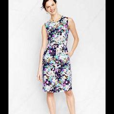 c5db1b88f463 Lands End Ponte Knit Sheath Dress Floral Print 20w Floral Sheath Dress,  Floral Dresses,