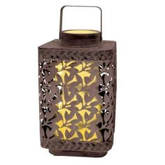 Solar Leaf Cluster Lantern with White Light. These Solar Leaf Cluster Lanterns are made of durable metal. They are art sculpture by day - hang it or place on a table - light by night. Unique internal solar module for a clean, neat, sophisticated look. #lantern #leafpattern #solar