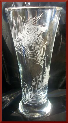 Peacock feather pilsner Hand engraved one of a kind Original