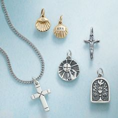 Honor the milestones of faith with our Baptismal Shell, First Communion Medal Charm and our Confirmation Charm. #JamesAvery