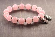 Pink gemstone beaded boho owl bracelet Love rose quartz tibetan jewelry Yoga meditation owls handmade gift for girlfriend girl sister summer by AndriysShop on Etsy