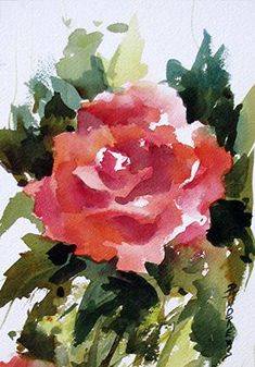 """Roses Are Red..Watercolor..Texas artist..Rae Andrews by Rae Andrews Watercolor ~ 9.5"""" unframed x 6.5"""" unframed"""