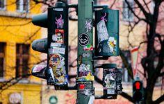 Redlight with stickers - #city, #Stadt, #Sticker
