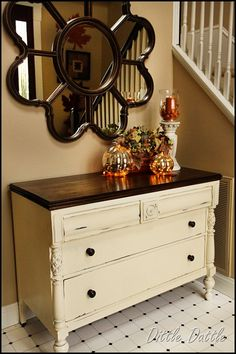 This is how I am painting my dinning room table and hutch....love the dark with the light.