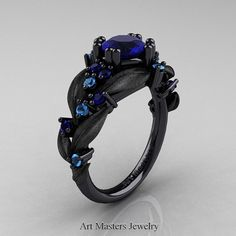 Nature Classic 14K Black Gold 1.0 Ct Blue by DesignMasters on Etsy