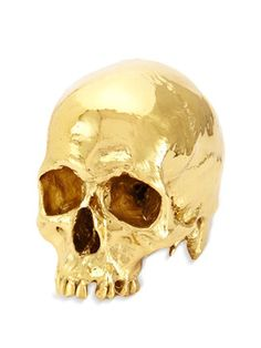 GOLD PLATED HUMAN SKULL - Crafted from Resin and 24 Karet Gold. Museum quality replica and signed by the artist. Made by EDUARDO GARZA.