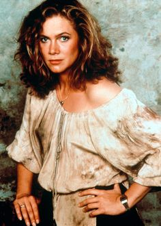 Kathleen Turner, Romancing the Stone....I had this poster on my wall in the 80s