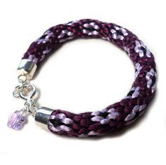 Purple kumihimo flower bracelet with sterling silver details. Get it here: krysantemumdesign.bigcartel.com