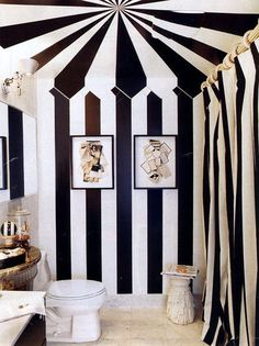 Black and White Striped Walls for Tent Effect in Bathroom.