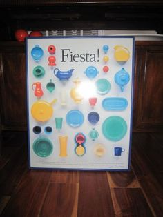 fiestaware poster - $50 - (Rome, GA)    Beautiful poster of vintage fiestaware. It is framed in cobalt blue. Excellent condition and signed by Katherine Wilmes Herring. Ready to hang. Call: 706-346-9888