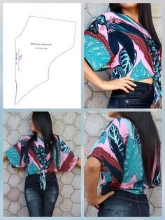 Make a Kimono Cardigan from a Scarf Tunic Sewing Patterns, Sewing Blouses, Clothing Patterns, Dress Patterns, Costura Fashion, Techniques Couture, Refashioning, Fashion Sewing, Moda Fashion